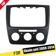 LONGSHI Facia-Kit de Panel de salpicadero para Skoda Yeti 2009-2014 (Manual Aircon), Radio, DVD, estéreo, CD, embellecedor de Fascia, marco de placa frontal, 2 Din