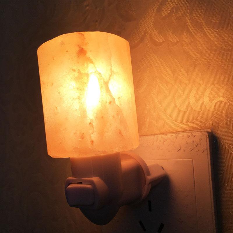 Mini lámpara de sal de cristal Natural Nightlight tallada a mano, lámpara de sal del Himalaya para dormitorio, sala de estar, regalos de 15 vatios