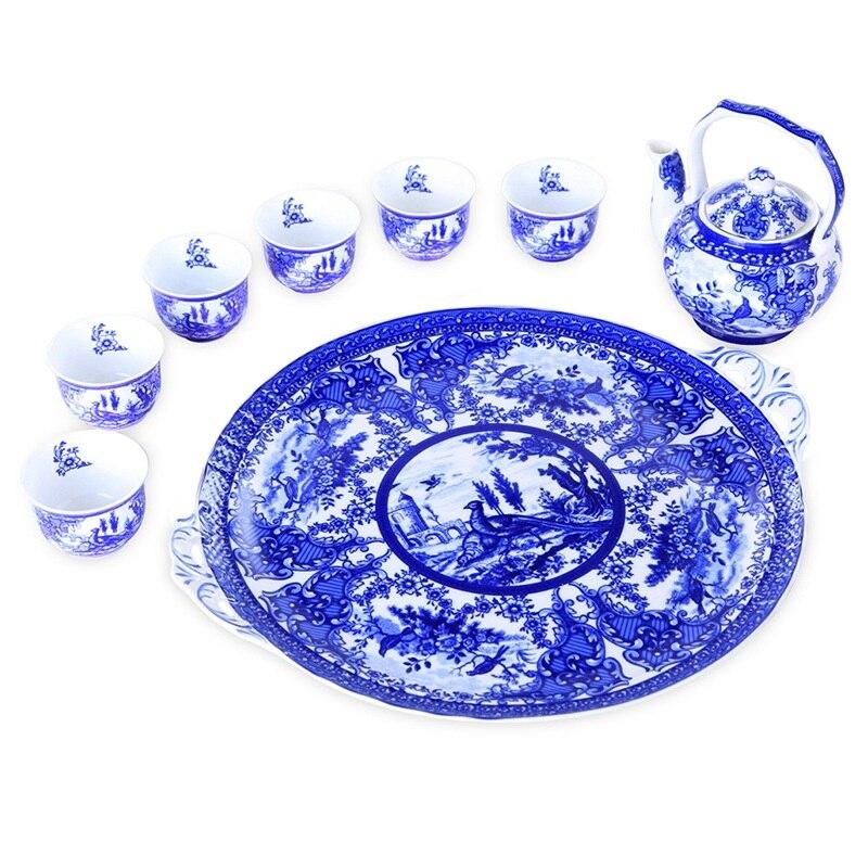 طقم إبريق شاي صيني ، طقم إبريق شاي ، لون لامع ، سيراميك أزرق وأبيض ، أطقم شاي الكونغ فو ، صواني ، أكواب ، علب شاي
