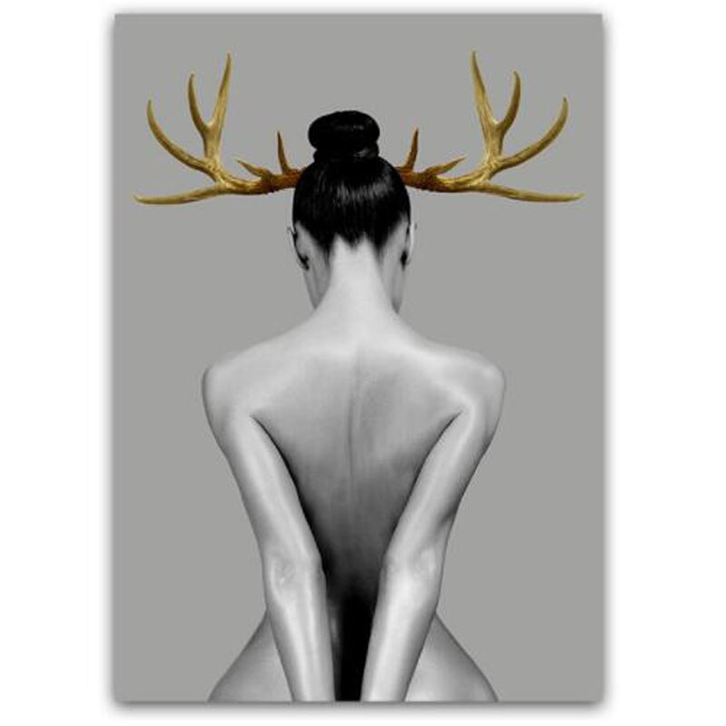 Nordic Poster Black And White Wall Art Canvas Painting For Girls Gold Elk Antler Wall Pictures Women For Living Room Home Decor  - buy with discount