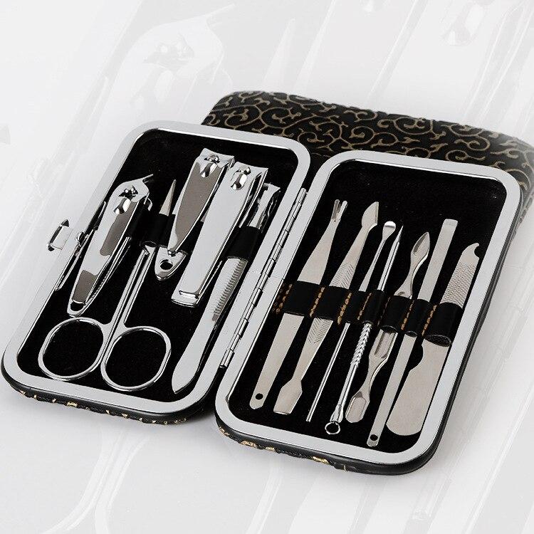 Etui motif pierre + 12 en 1 pièces Kit coupe-ongles Set de soin des ongles pédicure ciseaux pince couteau oreille pick utilitaire manucure Set outils