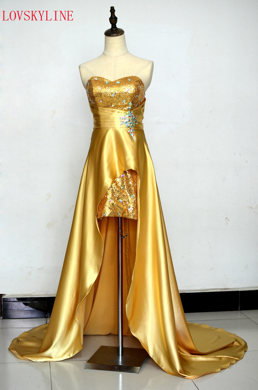 Venta caliente nueva colección Sweetheart cuentas y lentejuelas moda largo de satén vestido Formal vestidos de noche