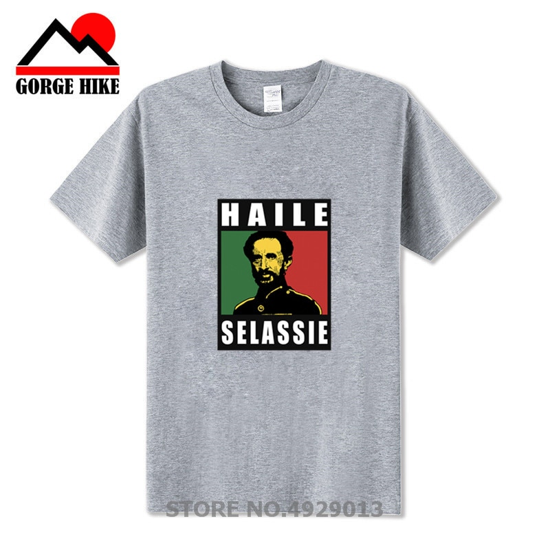 Nowy hajle sellasje cesarza T Shirt etiopii Rastafari reggae koszulka Homme z krótkim rękawem koszulka z dekoltem w plakat fitness Tee koszula