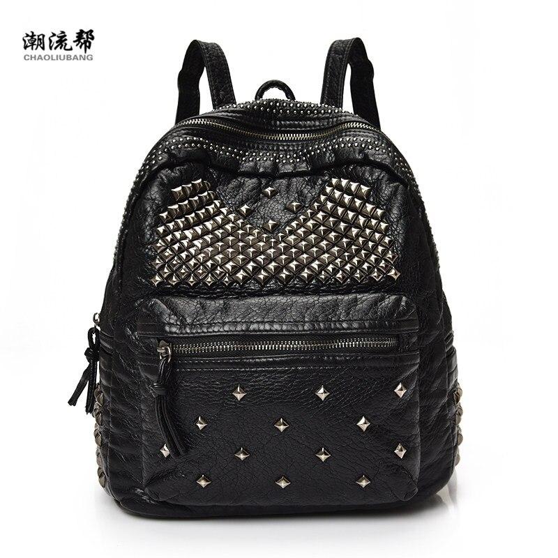 Fashion 2017 brand soft PU leather backpack rivet handbag shoulder bag backpack leisure travel school bag for young people