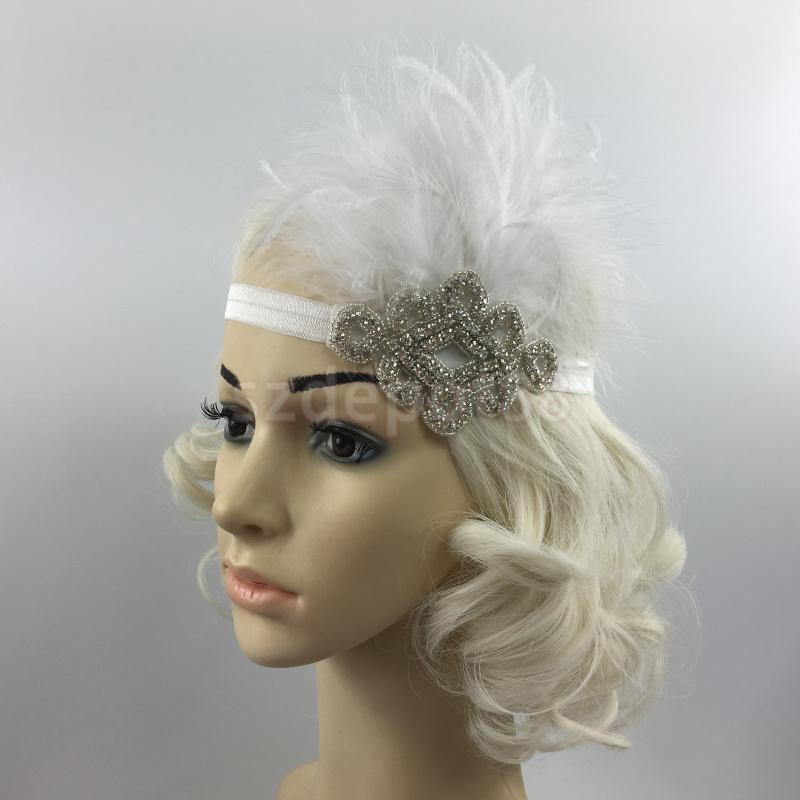 Nupcial pena diamante bandana flapper traje elástico headpiece 1920s s