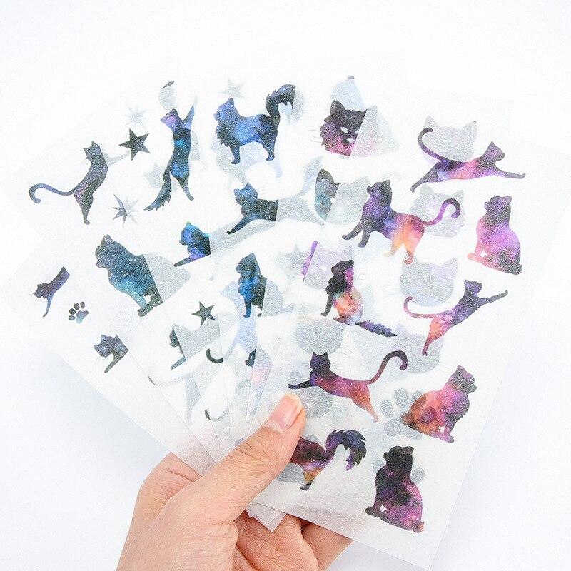6 hojas/paquete estrella coreana gato decoración pegatinas de PVC transparente artículos de papelería, diario pegatinas
