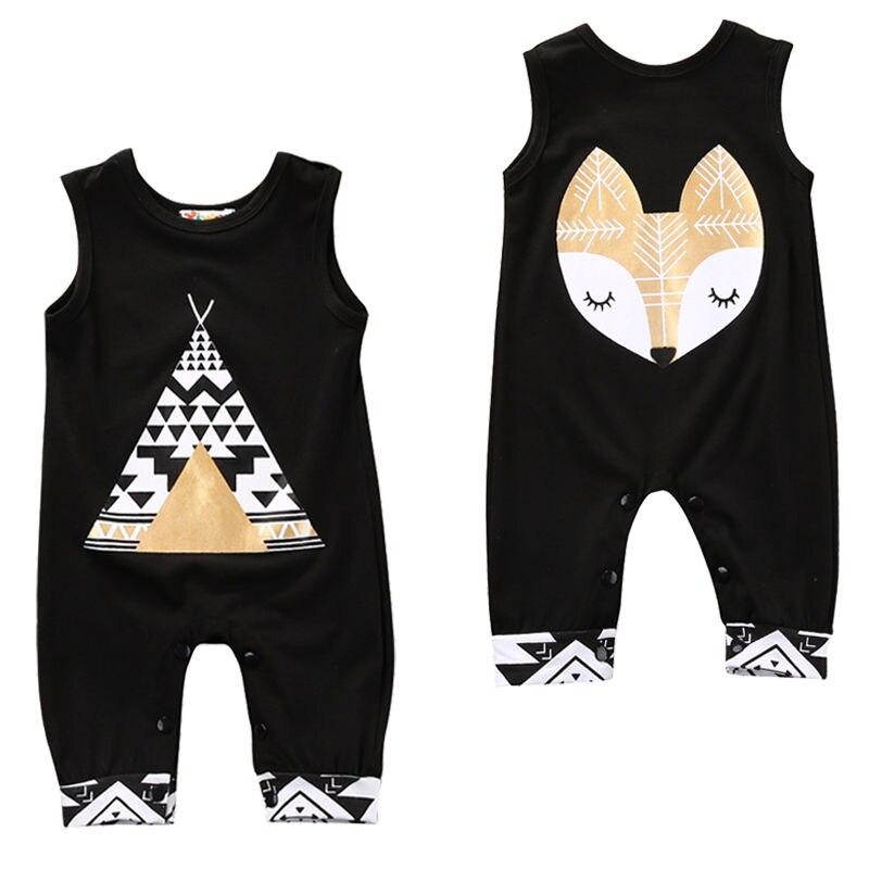 Комбинезон для новорожденных Pudcoco, Одежда для младенцев мальчиков и девочек, цельный комбинезон без рукавов с рисунком лисы для новорожденных
