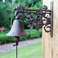 grape vine cast iron wall mounted hand cranking bell europeam vintage handmade home garden decor rustic iron welcome door bell