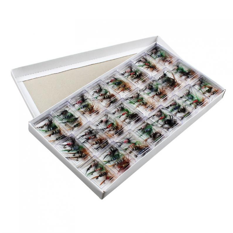 96 pçs/lotraplacable truta isca realista seco mosca ganchos de pesca streamer kit isca com caixa