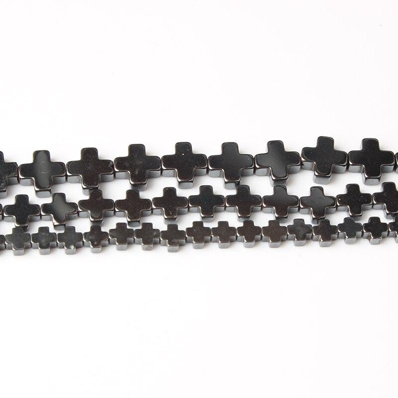 Lanli jesus cruz preto hematite contas pedra natural solta contas 4-12mm diy masculino e feminino pulseira colar acessórios