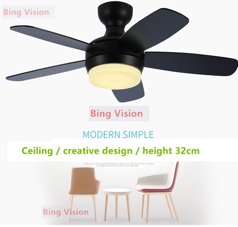 Blanco Negro Nórdico moderno LED de madera ventilador de techo lámpara de techo para sala de estar ventilador DC ventiladores de techo con luces de 220v