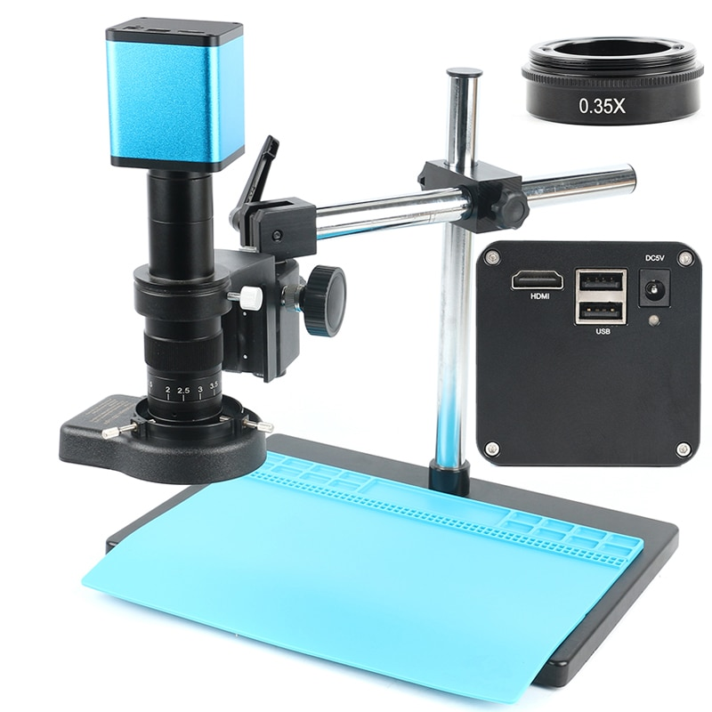 Full Set 2020 1080P Industry Autofocus SONY IMX290 Measuring C Mount Video Microscope Camera U Disk Recorder For PCB Soldering
