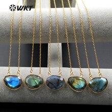 ¡Venta al por mayor! WT-N968 COLLAR COLGANTE de piedra labradorita natural de doble bucle con cadena de color dorado en varias joyas de piedra
