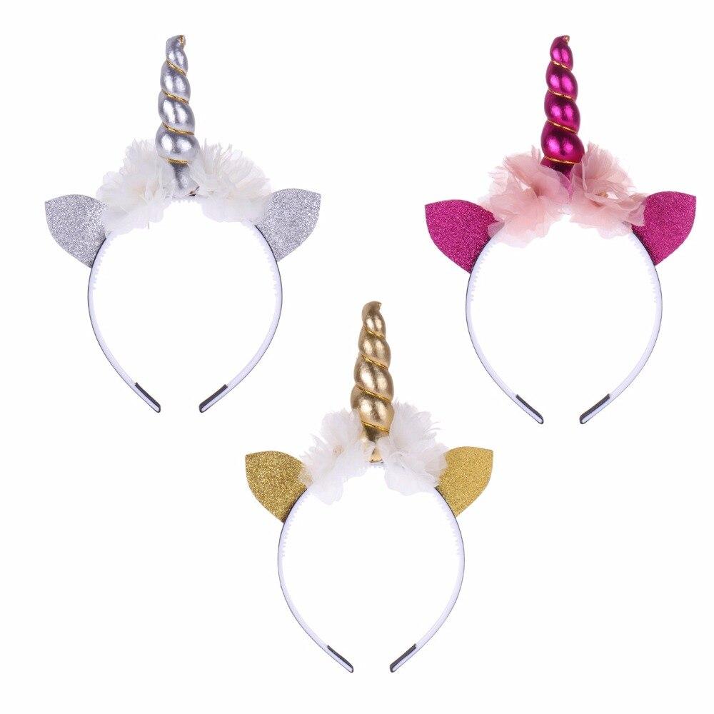 Diademas de cuernos de unicornio para recién nacidos, diadema con orejas de gato de purpurina y flores de Gasa, accesorios para el cabello fiesta