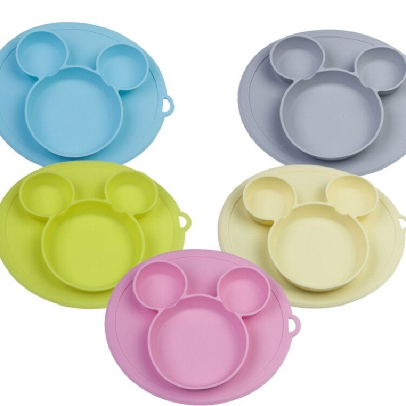 Kids Bowl Plates baby feeding silicone plate children's integrated baby silica gel dishes