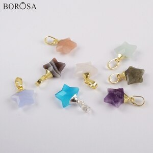 BOROSA 10Pcs New Star Shape Multi-Kind Stones Pendant Rainbow Material Beads for Earring for Women Necklace Handmade WX1171