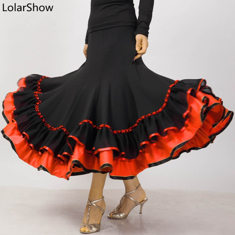Falda de baile de Flamenco, Falda larga de baile de salón, vestido moderno estándar de bailarina de Vals, vestido de actuación de baile de España