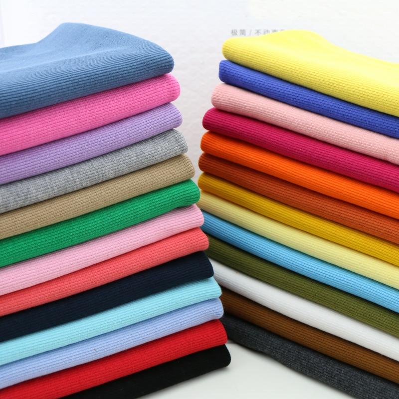 20X 100cm gran oferta 2x2 algodón tejido costilla tela para puños tela de algodón elástico para DIY ropa, costura que hace la tela de los accesorios