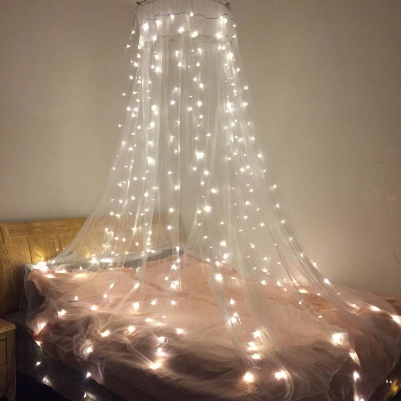 Cortina de luces LED de 180leds de 2*2 metros, guirnaldas de Año Nuevo, guirnaldas de Navidad, jardín, boda, Hada de la decoración, 2 colores