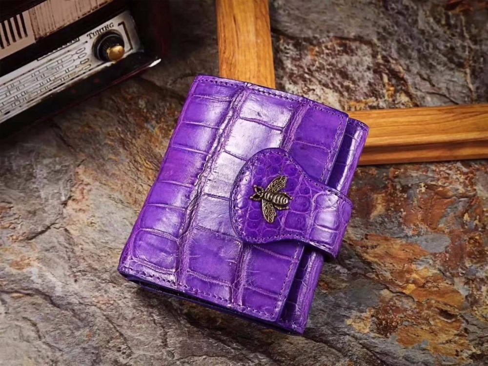 100% piel auténtica/cocodrilo real tarjetero para tarjetas bancarias dinero caja de efectivo y cartera carcasa para monedas metal adorno de abejas carcasa para monedas
