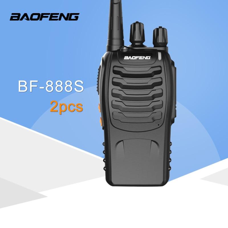 BF-888S 2 PCS Baofeng Walkie Talkie 5W Handheld Pofung 16CH 5W 400-470MHz em Dois Sentidos UHF Rádio CB Portátil
