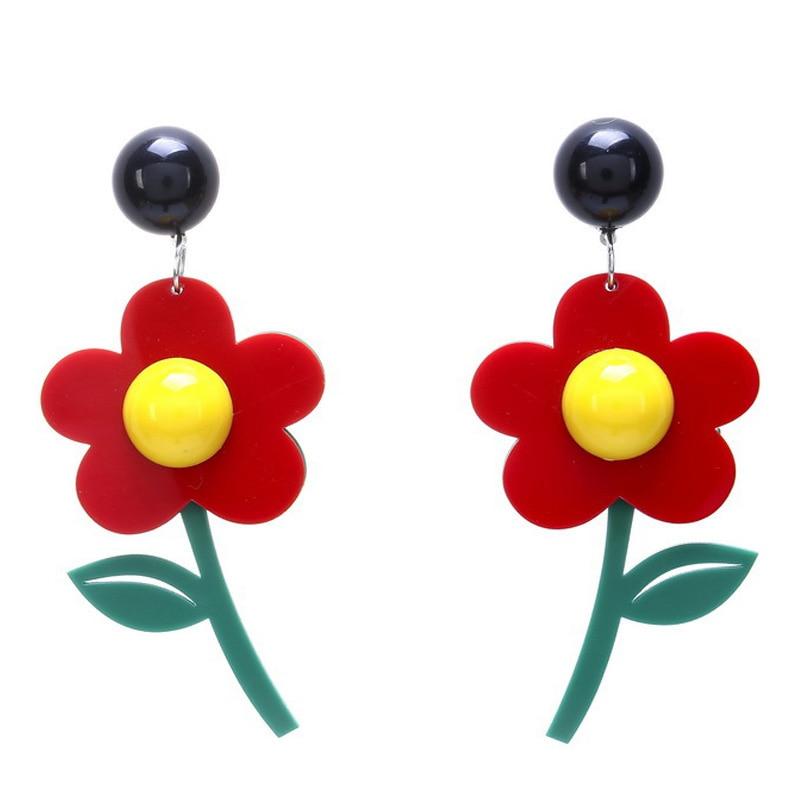 New Fashion Korean Style Lovely Red White Mix Color Big Tassel Acrylic Drop Earrings for Female Trendy Sweet Dangle Earrings