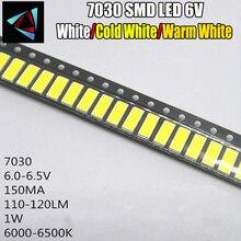 50pcs pour LG Innotek LED LED rétro-éclairage 1W 7030 6V blanc froid TV Application smd 7030 led blanc froid 100-110lm 7.0*3.0*0.8mm