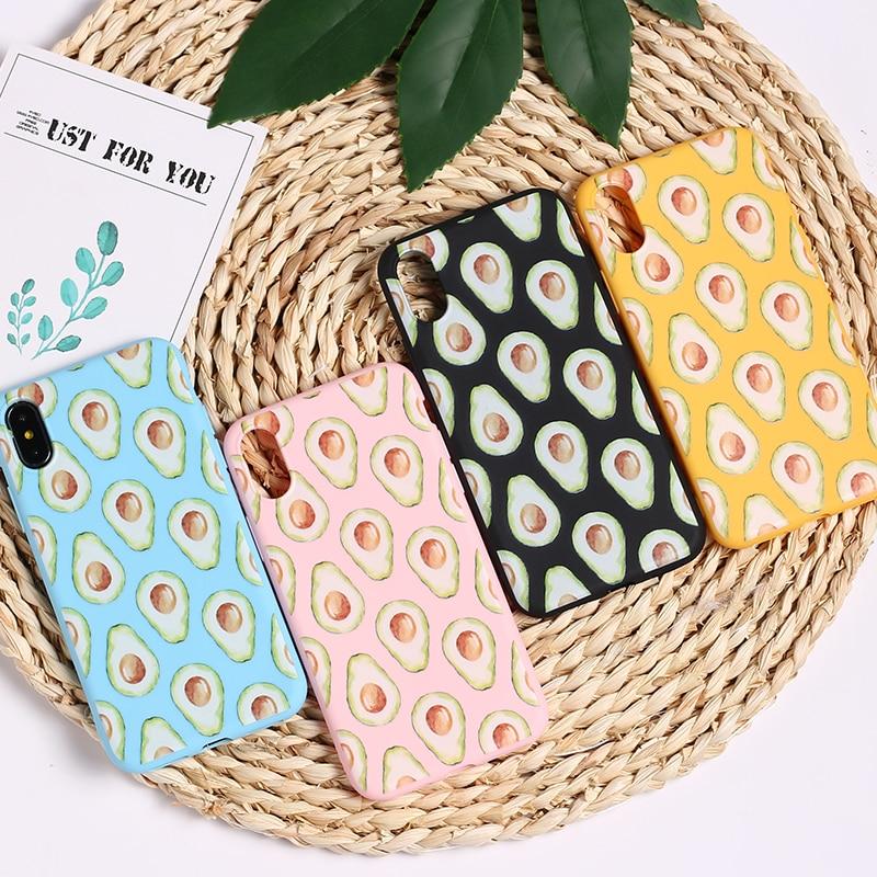 Симпатичные авокадо еда шаблон Симпатичные, из мягкого ТПУ силикона матовый чехол Fundas Coque крышка для iPhone 11 6 6S 5 5S 8 8Plus X 7 7Plus XS Max