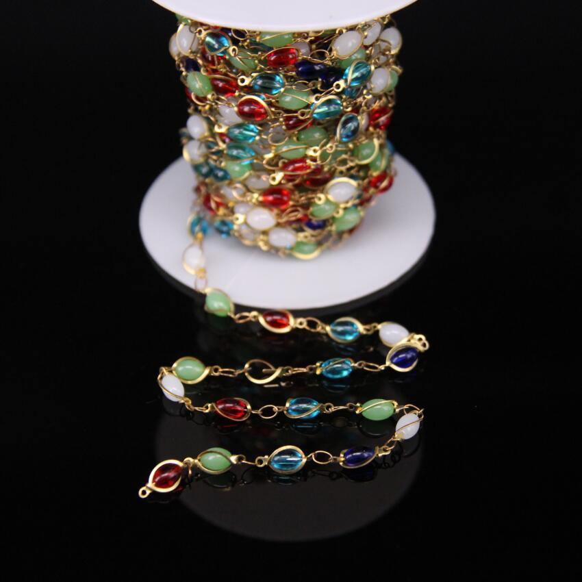 سلسلة مسبحة نحاسية متعددة الألوان 4 × 6 مللي متر ، مصنوعة يدويًا ، خرز أرز زجاجي ، نحاس ، موصل إطار حجري ملون ، سلك نحاسي ملفوف