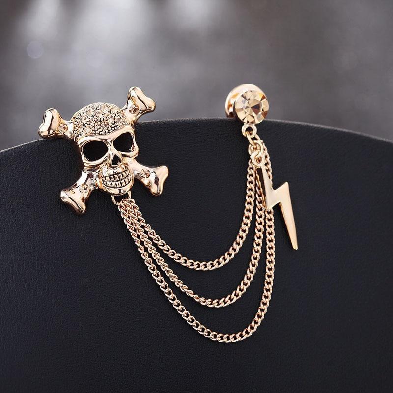 Personalidade esqueleto flash terno distintivo metal borla pinos de corrente broches cardigan camisola colarinho lapela pino presentes acessórios masculinos