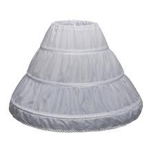 Jupon blanc sous-jupe pour robes de fille de fleur accessoires de mariage 3 cerceaux enfants Crinoline 3-12 ans filles jupon gonflé