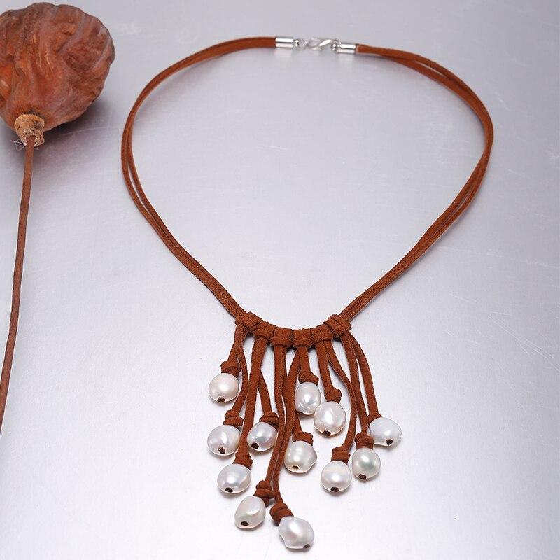 DAIMI 9-10mm Barocke Perle Halskette Weiße Farbe & Leder beste weihnachtsgeschenk für frau