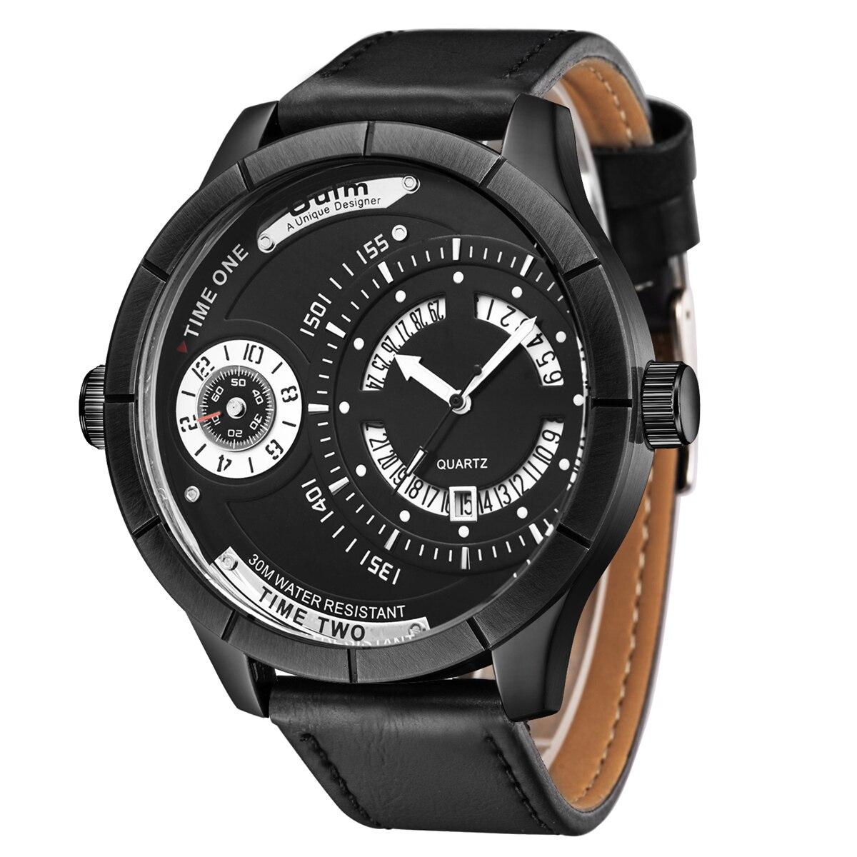 Relojes para hombre, relojes deportivos de cuero de marca de lujo para hombre, relojes oulm de cuarzo con brújula, reloj de pulsera militar resistente al agua