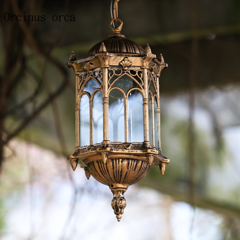 אירופאי רטרו עתיק ברונזה חיצוני נברשת מרפסת פטיו מסדרון מודרני creative אישיות LED עמיד למים נברשת