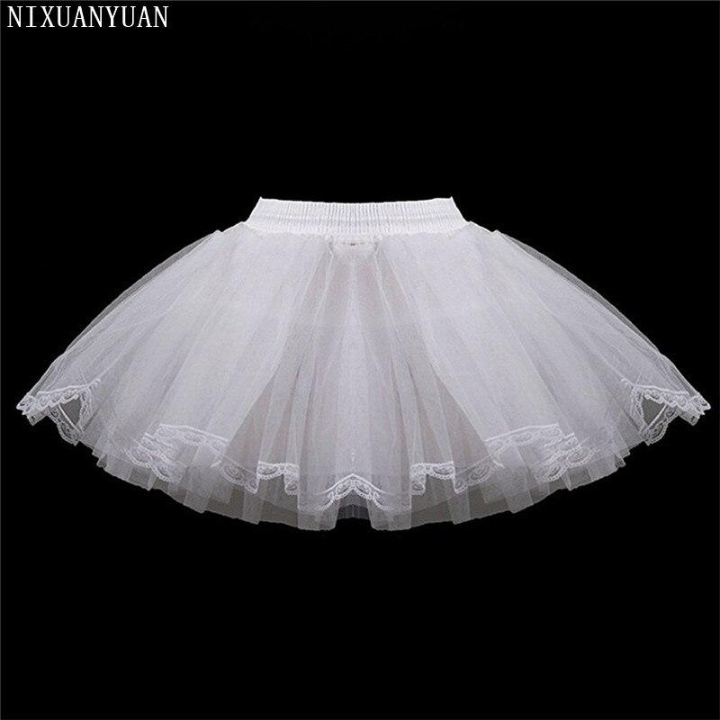 Branco Curto Meninas Anáguas De Casamento Três Camadas Lace Borda Tulle Underskirts Anágua Desossada Mini Simples Para As Crianças