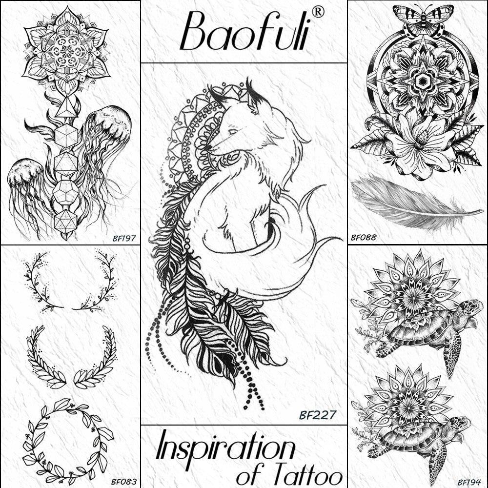 Hojas de zorro Baofuli, tótem Tribal negro, Henna, tatuaje temporal, hojas adhesivas, tatuajes impermeables, arte corporal, brazo, Tatuaje falso, Mujeres