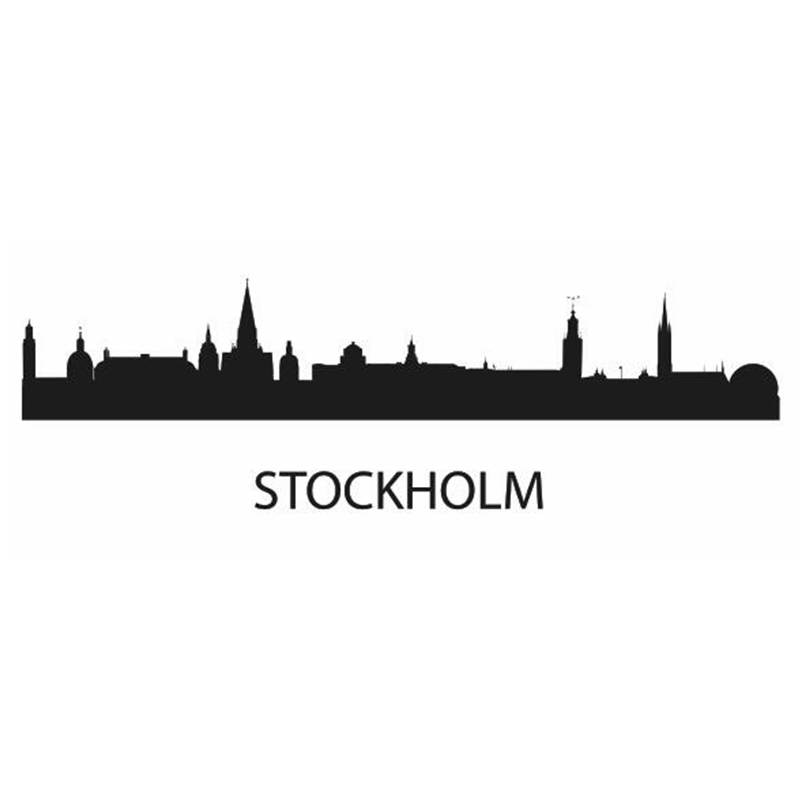 Calcomanía de hito de Ciudad de STOCKHOLM, calcomanías de dibujo para pared con diseño de horizonte, póster, calcomanías para decoración del hogar