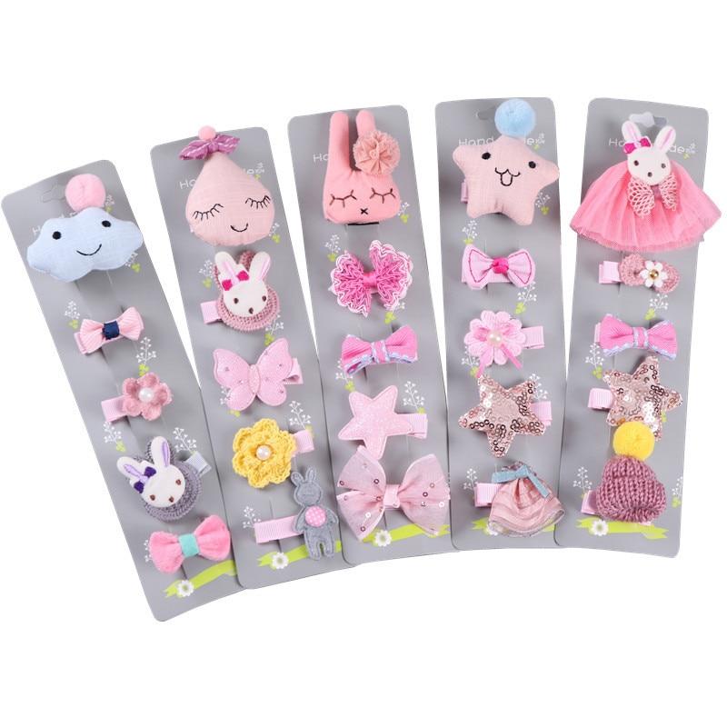 Ruoshui 1 Conjunto = 5 uds. Horquillas para el pelo para niños, juego Forma de Corona horquillas florales con lazo, pasadores para niñas, accesorios para el cabello para bebés, sombreros de cumpleaños