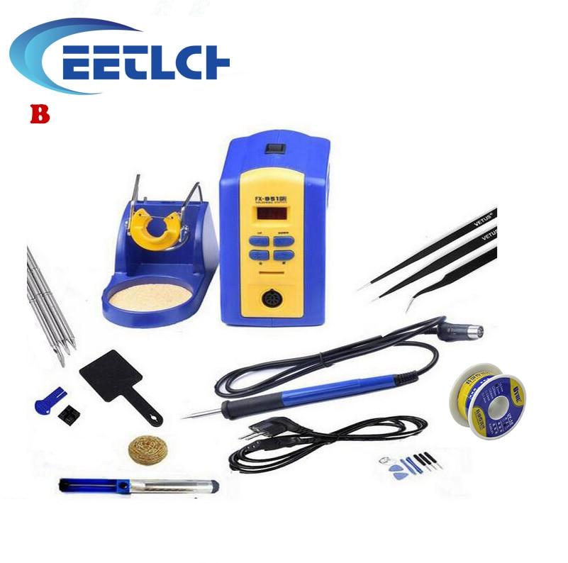 fx-951 Digital Thermostatic Soldering Station/Solder Electric Soldering Iron 110V/220V+Welding wire+tweezer+iron tip