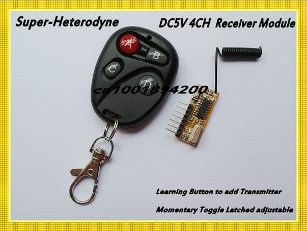 Dc5v 4ch استقبال المتغاير حدة voh عالية المستوى 315/433 كود التعلم rf حدة استقبال مصغرة الحجم 4ch مدخلات dc5v