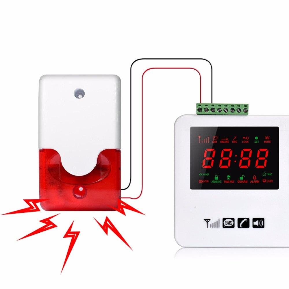 Sirena estroboscópica con cable 12V 24V 220V alarma estroboscópica de sonido intermitente luz roja sonido sirena sistema de alarma de seguridad para el hogar 115db
