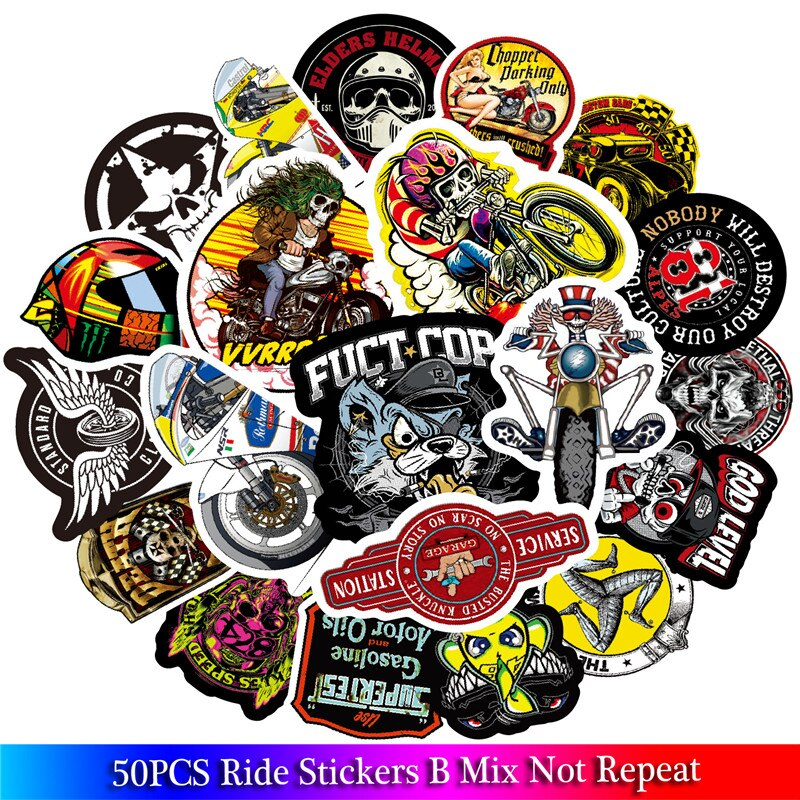 50 шт., новые модные наклейки для езды на мотоцикле, наклейка для автомобиля, граффити скейтборд, сноуборд, багажная сумка, шлем для ноутбука, виниловая гитара