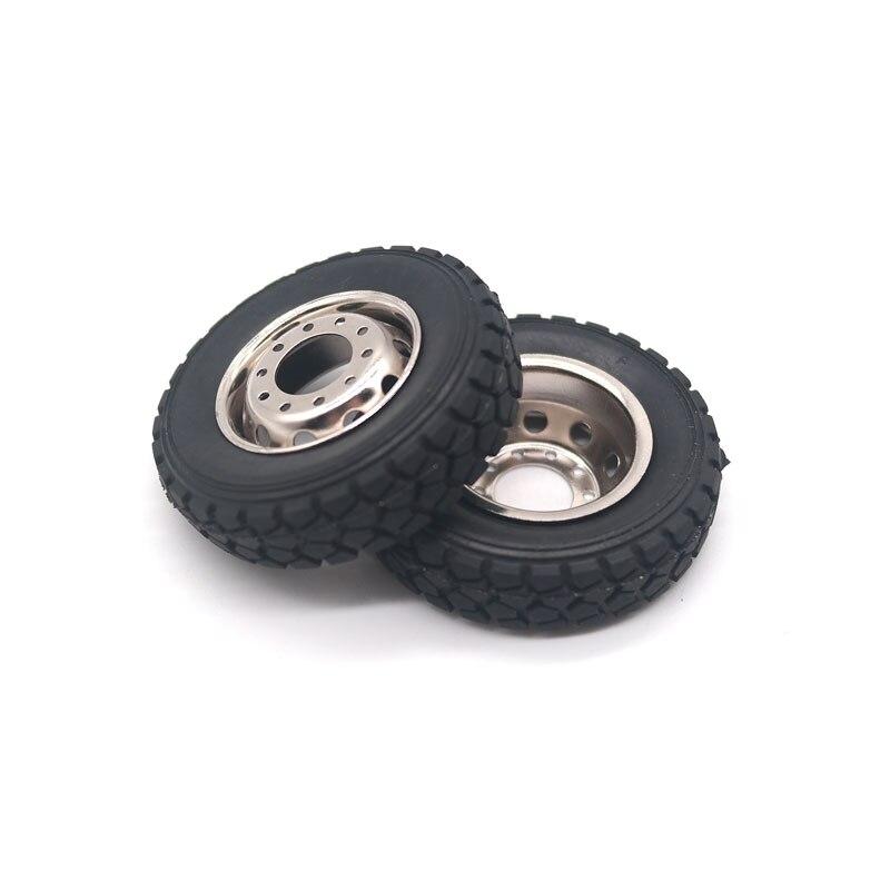 Qin24 2PCS 1/24 RC Heavy Truck Hard Tires and Wheels Set