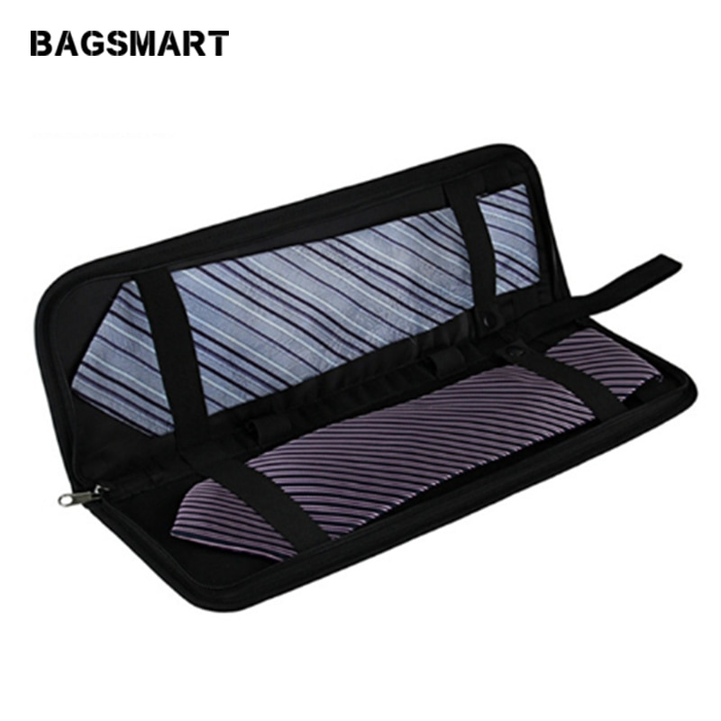 BAGSMART Men Nylon Tie Organizer Fashion Zipper Tie Case  Travel Luggage  Bags Tie Storge Bags