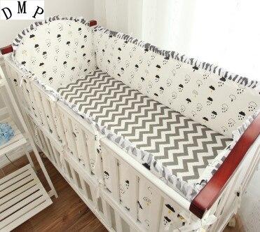 5 قطعة سرير أطفال برسوم كرتونية سرير أطفال مناسب لسرير الأطفال حافظات وسادات ومصدات (4 حافظات + ملاءة)