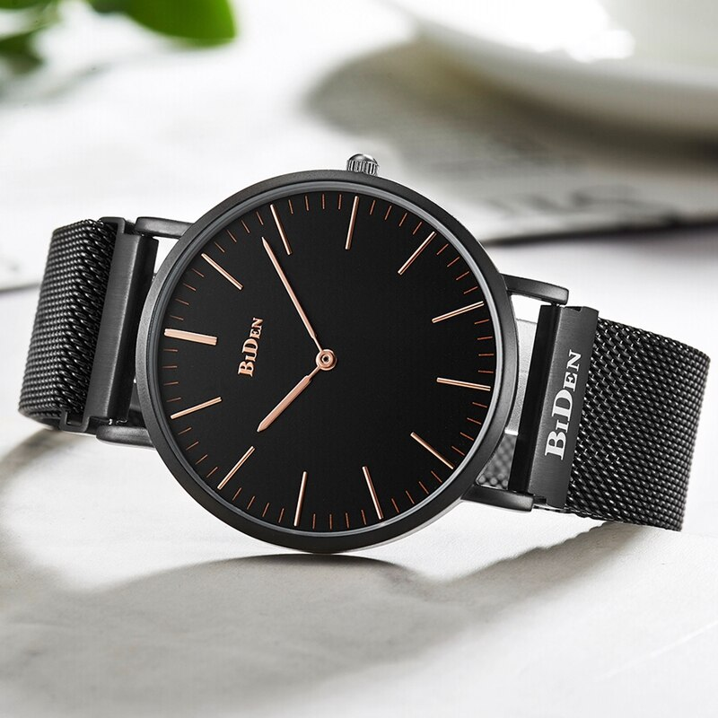 Top Luxury BIDEN Watch Men Unique No Seconds Pointer Dial Quartz Clock Male Trendy Mesh Wrist Stainless Steel Watch Reloj Hombre