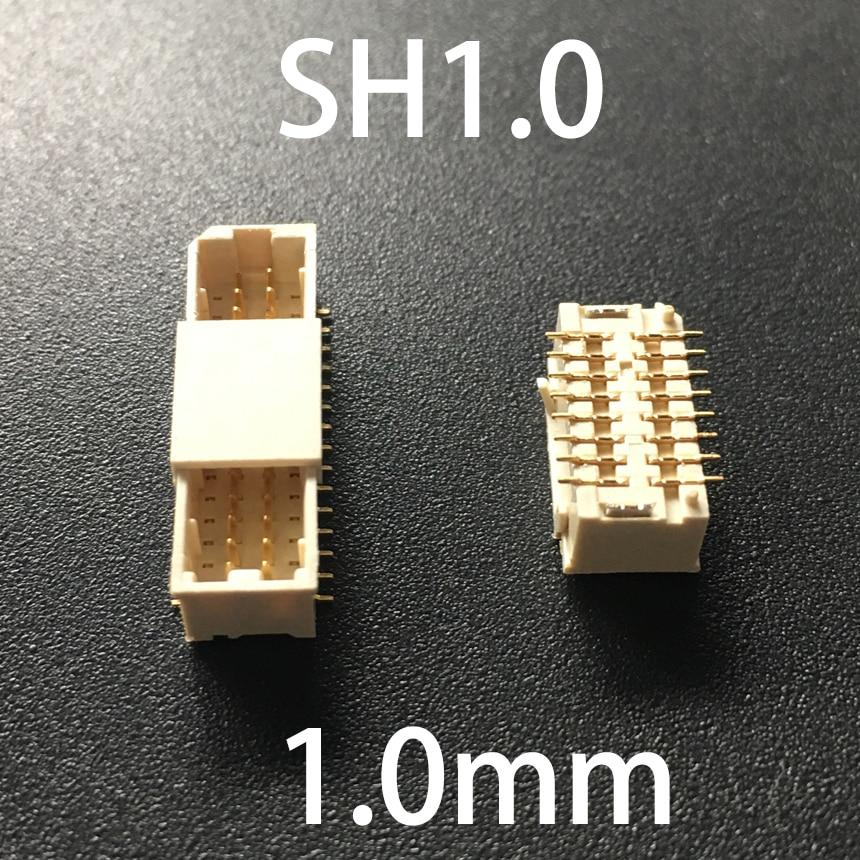 SH1.0 1,0mm 2*6P 2x6P 2*8P 2x8P 2*10P 2x10P 12 16 20 pines Vertical parche SMD SMT hembra Terminal oblea conector