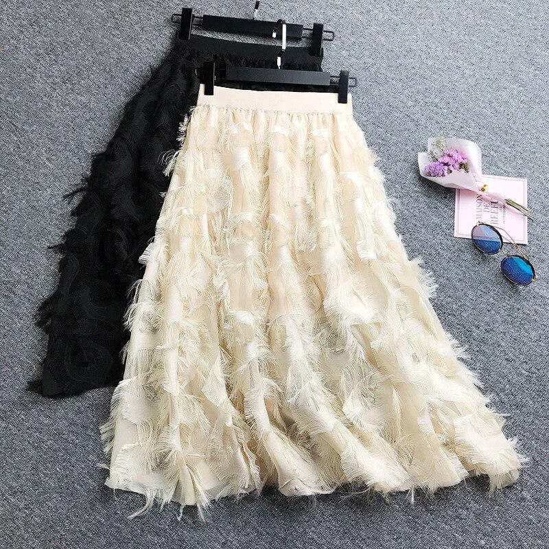 Sweet Women Chiffon Skirt Feather Tassel Jacquard Elastic High Waist Skirt Spring Autumn 4 Colors Ladies Knee Length Skirts T648