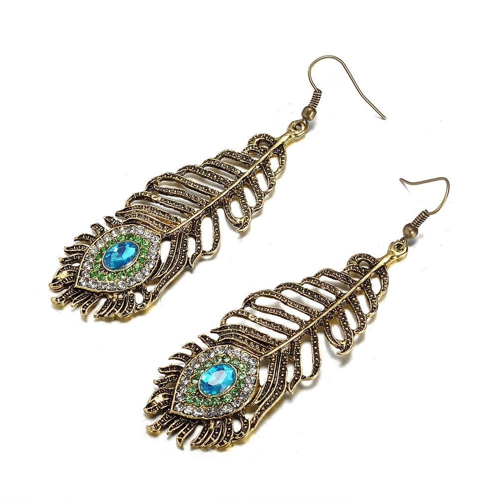 ¡Novedad! Pendientes étnicos azules de pavo real de diamantes de imitación con forma de gota para mujer, Pendientes colgantes Vintage, accesorios de joyería