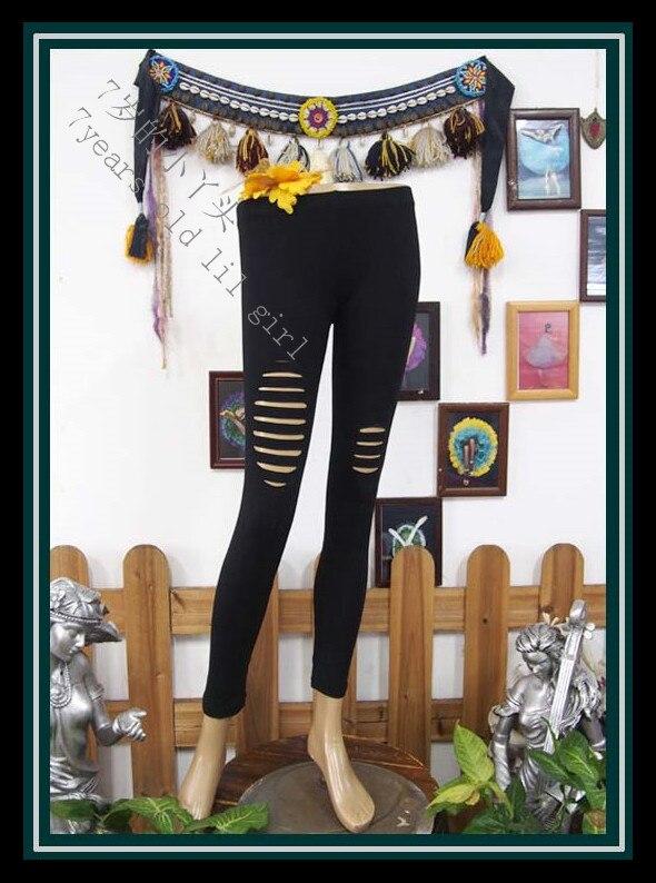 Pantalones para danza y yoga de algodón de Lycra, pantalones ajustados para entrenamiento, mallas ajustadas con agujero AG73